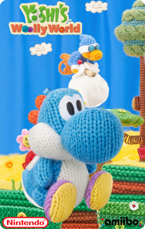 Yoshi's Wooly World - Light Blue Yarn YoshiBack.png