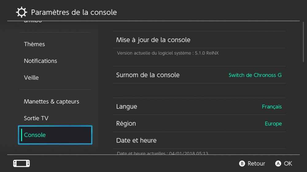 Mettre à jour la Switch sans internet